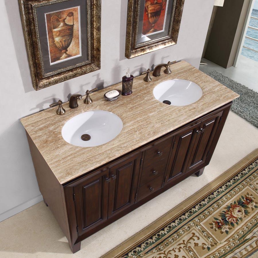 "55"" Double Sink Cabinet - Travertine Top, Undermount ..."