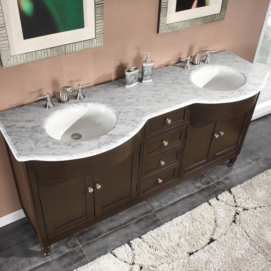 72 Double Sink Cabinet Carrara White Marble Top Undermount White