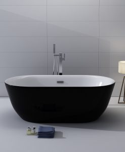 Kokss Freestanding Modern Seamless Acrylic Bathtub Lamone Black