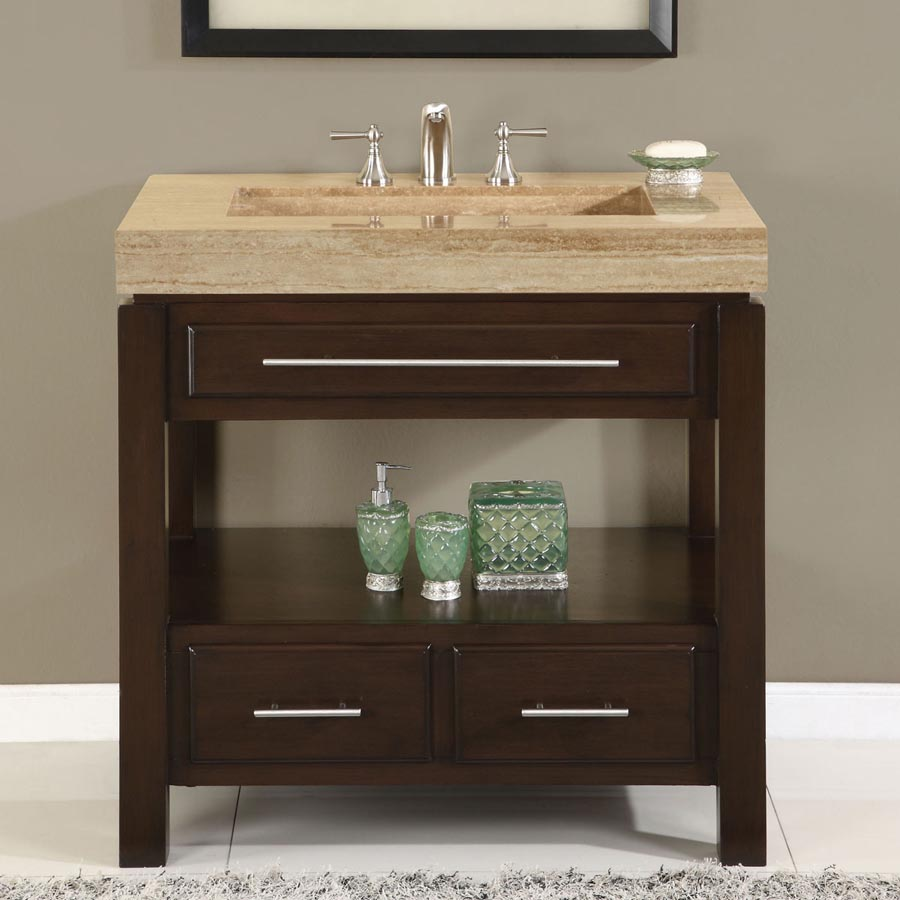 36 Single Sink Cabinet Travertine Vanity Top Sink 3 Holes Gm